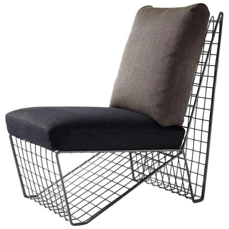 Vintage Wire Frame Grid Chair For Sale