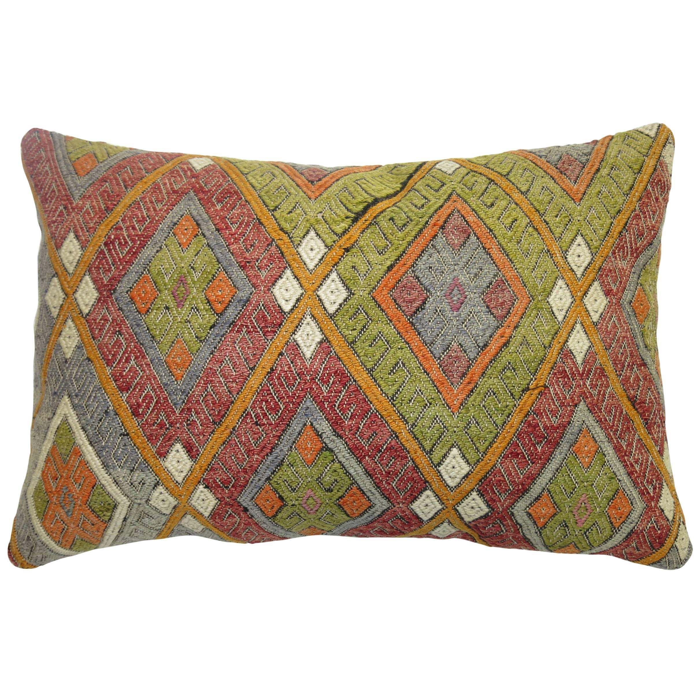 Colorful Large Vintage Hand-Knotted Kilim Pillow