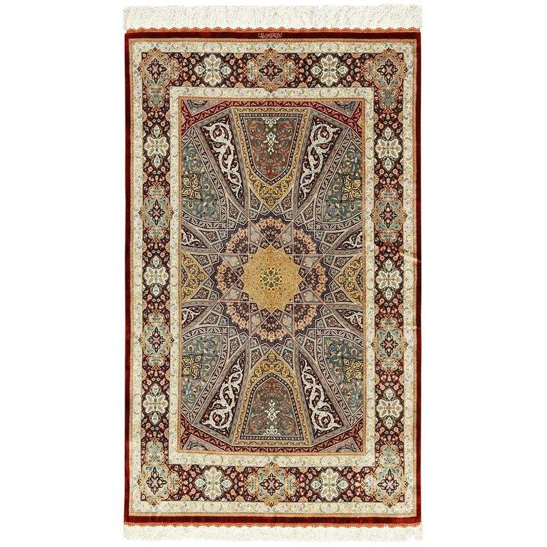 Small Size Geometric Persian Silk Qum Rug