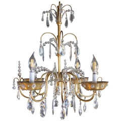 French Art Deco Chandelier with Four Lights by Maison Jansen