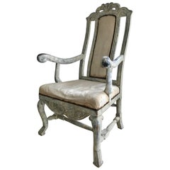 Swedish Baroque Armchair in Original Paint
