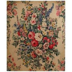 Large French Floral Handscreen on Linen Wall Hanging