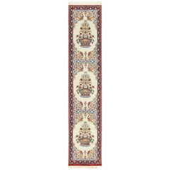Ivory Persian Silk Isfahan Runner Rug