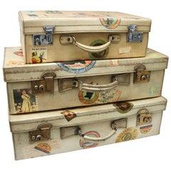 Set of Three Vintage British Hard-Side Suitcases in Vellum