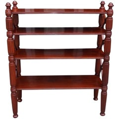 Caribbean Regency Mahogany Four-Tier Reeded Bookshelf, Circa 1815