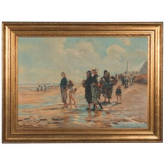Vintage Oil Painting Seascape of Woman with Oyster Baskets by Jose Ricardo