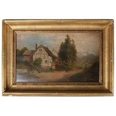 Antique Dutch Oil on Board Painting of Farm Scene in Gilt Frame, 19th Century