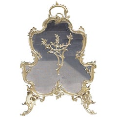French Brass Decorative Scrolled Foliage Fire Place Screen, Circa 1830
