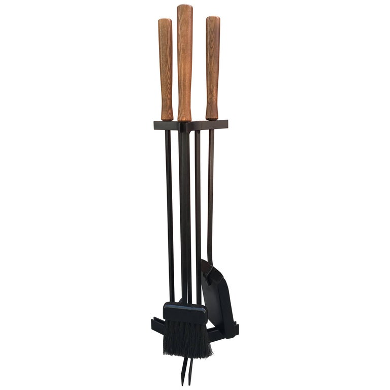 American Modern Iron and Wood Fireplace Tools 1