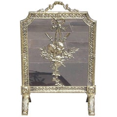 French Brass Figural and Musical Motif Acanthus Fire Place Screen, Circa 1820
