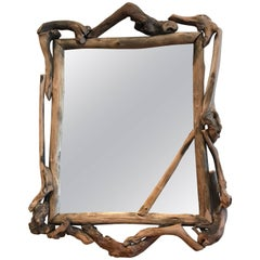Rustic Handmade Grapevine Wall Mirror