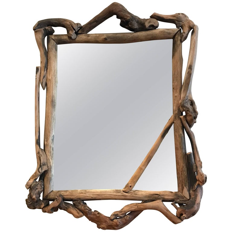Rustic Handmade Grapevine Wall Mirror 1