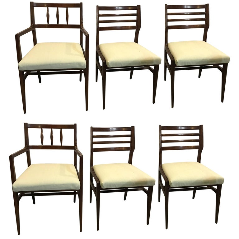 Set of six mid century modern rosewood dining chairs by r for R way dining room furniture