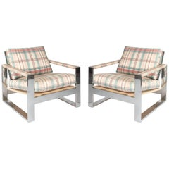 Pair of Milo Baughman Cube Chairs