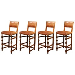 Four 19th Century French Carved Barstools with Back and Original Leather
