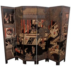 Coromandel Screen with Carved Asian Paintings and Written Characters
