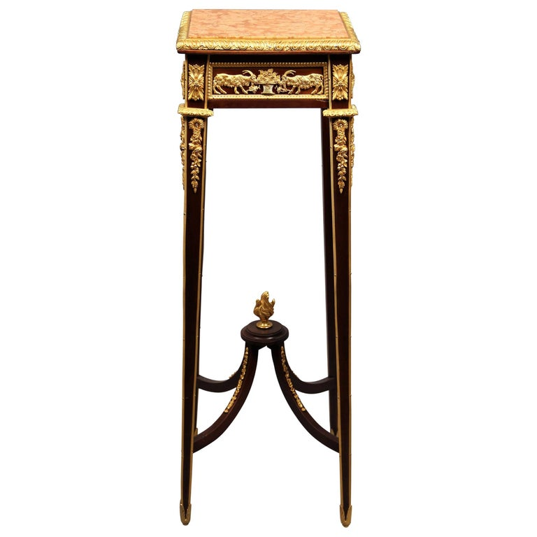 Very Fine Late 19th Century Gilt Bronze-Mounted Marble-Top Pedestal For Sale