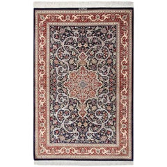 Small Scatter Size Navy Silk Persian Qum Rug