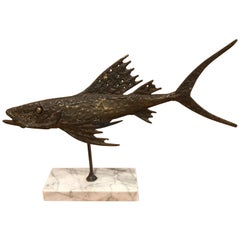 Abstract Bronze Sculpture of a Fish