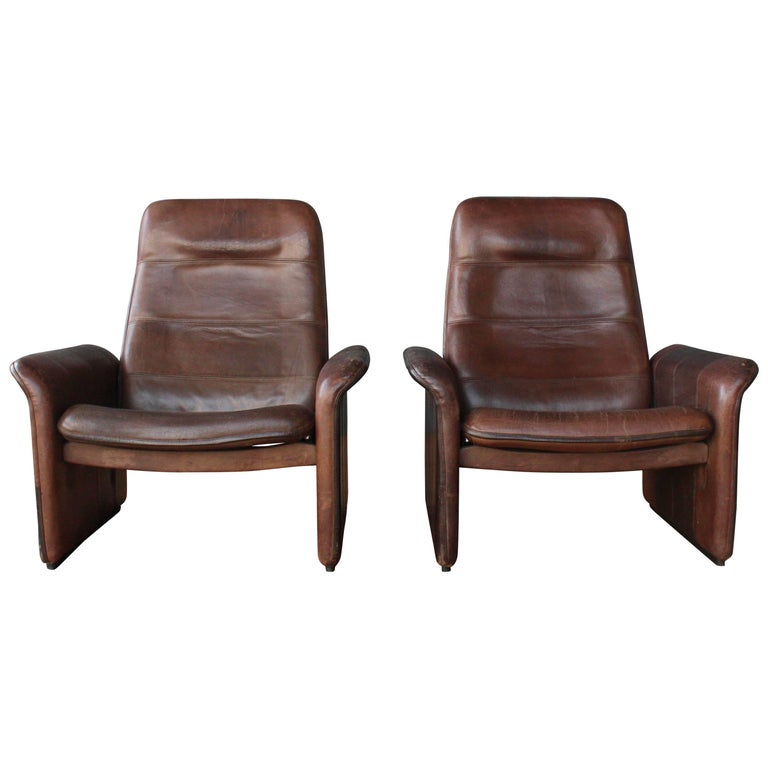 Pair of Leather DS-50 De Sede Reclining Chairs 1