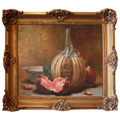 19th Century, Gilt Framed and Signed French Still Life Oil Painting on Canvas