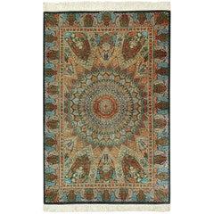 Green Background Silk Persian Qum Rug