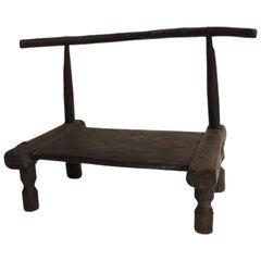 Vintage Low Hand-Carved African Baule Wood Artisanal Chair