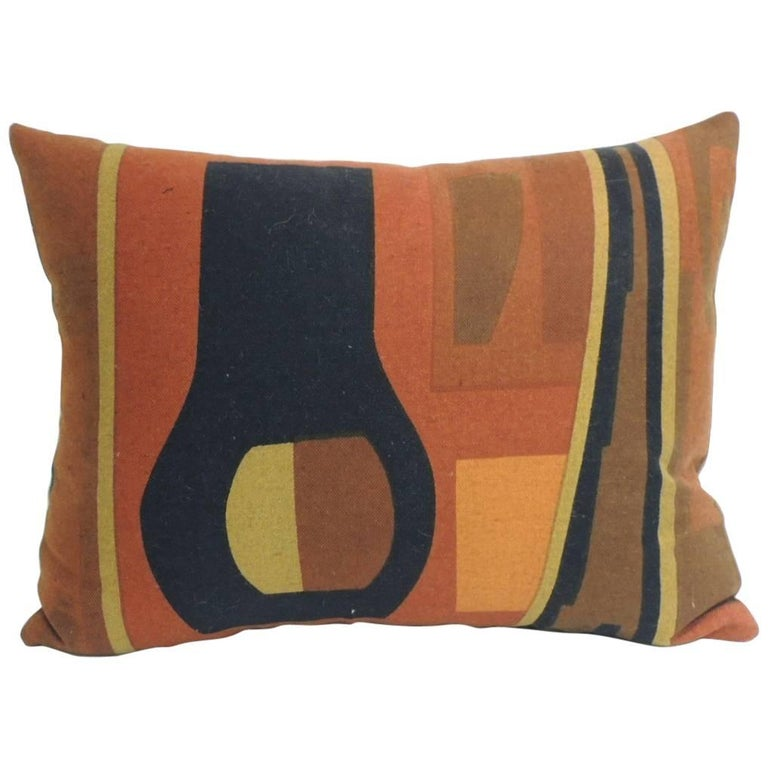 Vintage Mid-Century Modern Knoll Multi-Color Textile Decorative Pillow at 1stdibs