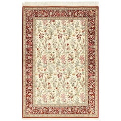 Ivory Floral Silk Qum Persian Rug