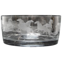 Etched Horses on a Clear Glass Serving Bowl