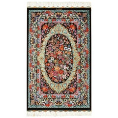 Small Scatter Size Persian Qum Silk Rug