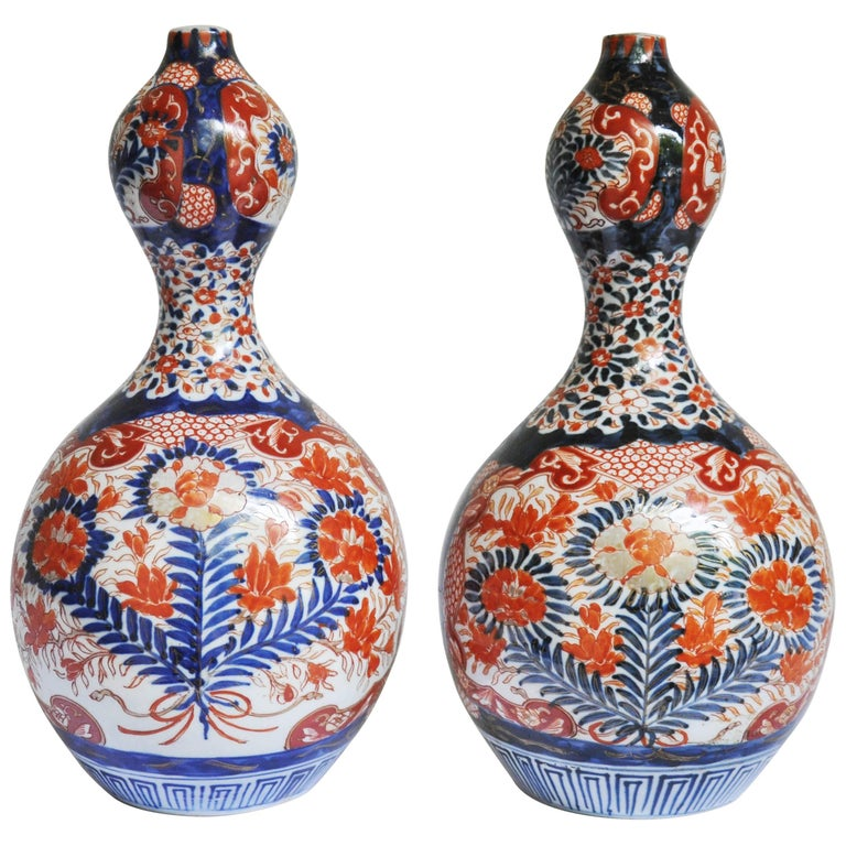 Pair of Arita Double Gourd Vases For Sale
