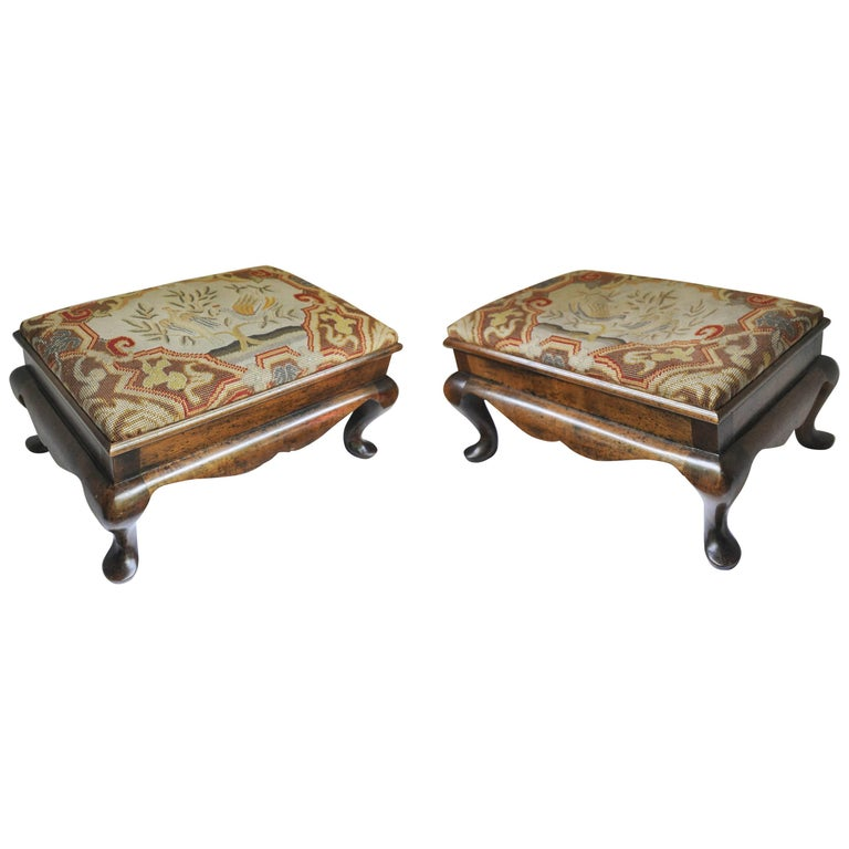 Pair Of Walnut Queen Anne Style Foot Stools For Sale At