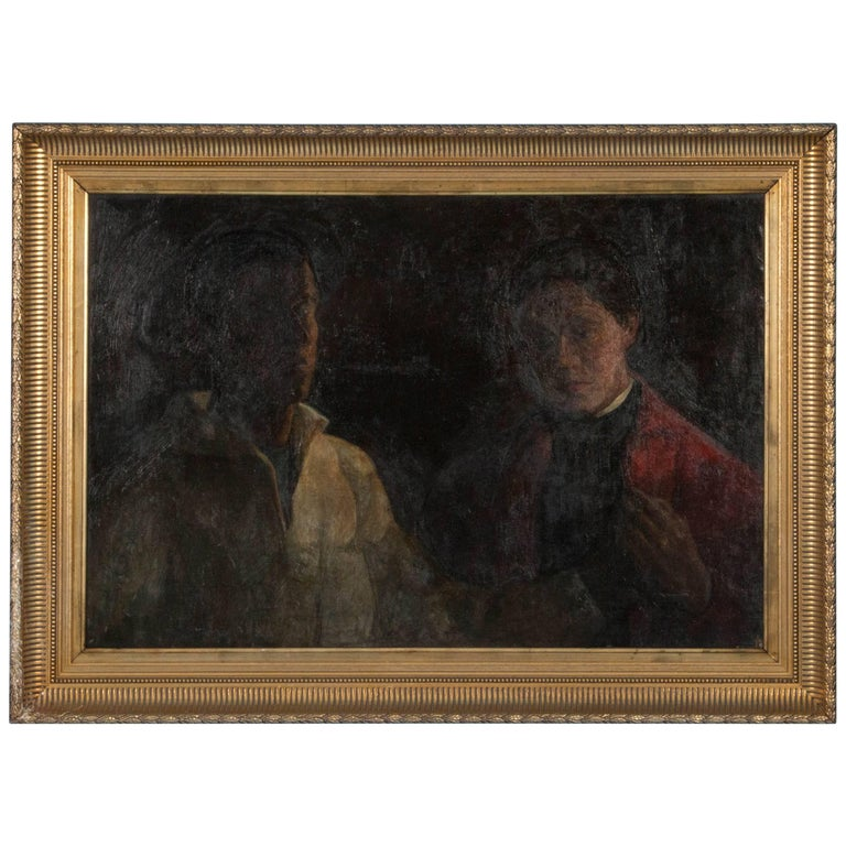Antique 19th Century Original Oil Painting Portrait by Sigurd Wandel For Sale