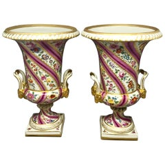Pair Pink Floral and Gilt Porcelain Painted Urns