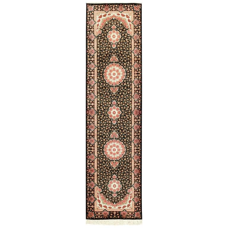 Black Silk Qum Persian Runner Rug