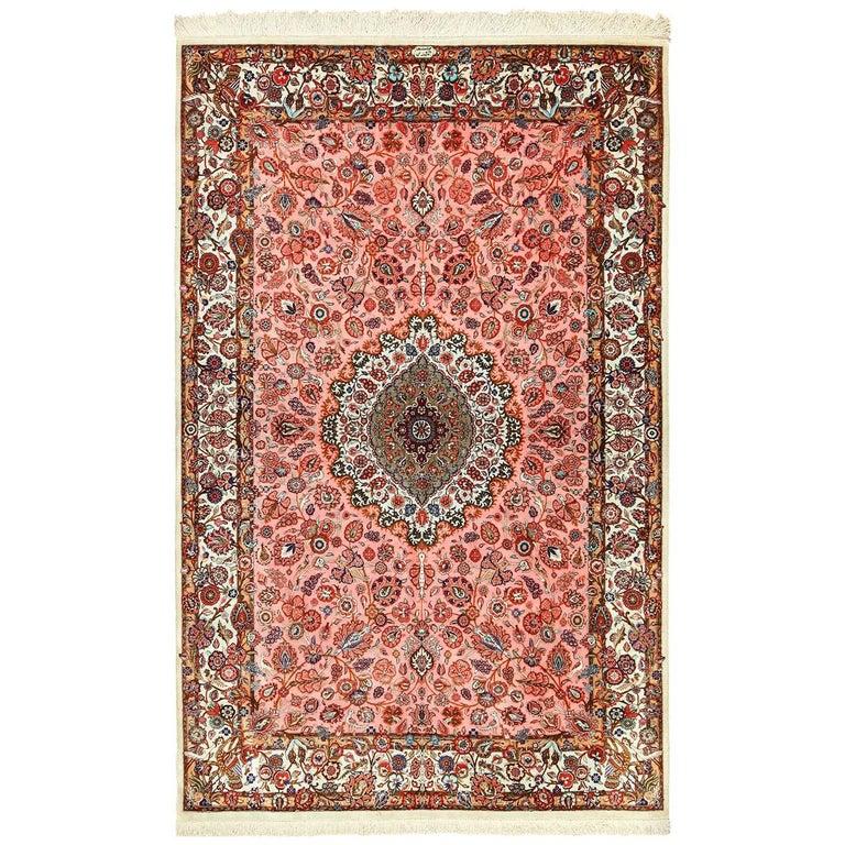 Small Size Fine Silk Qum Persian Rug