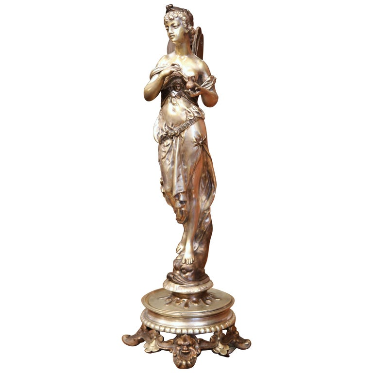 19th Century French Silvered Bronze Roman Woman Statue Standing on Dolphin For Sale