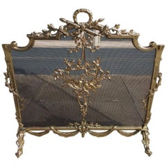 French Brass Laurel Wreath and Dove Decorative Swag Fire Place Screen. C. 1820
