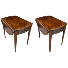 Pair of Pembroke Leather Topped Mahogany Tables