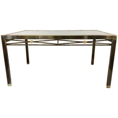 Mixed Metal Brass and Glass Extension Dining Table, Mastercraft Directoire Style