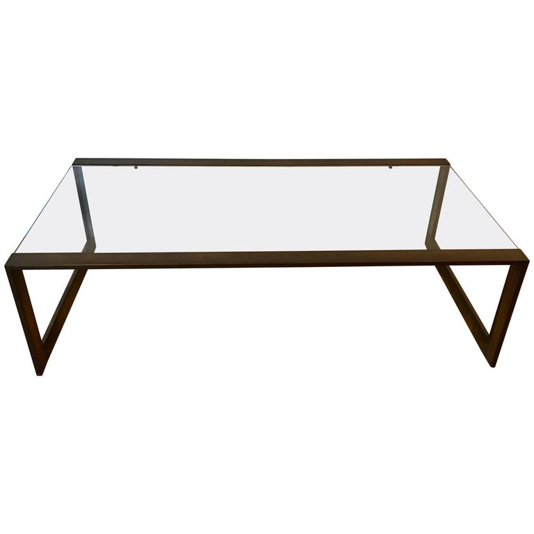 Modern Brass And Glass Rectangular Coffee Table 1970s At 1stdibs