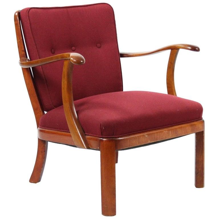 Søren Hansen Lounge Chair Model 1628 Fritz Hansen Denmark, circa 1940 For Sale