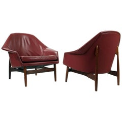 Pair of Rosewood and Leather Lounge Chairs by Ib Kofod Larsen for Carlo Gahrn