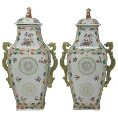 18th Century Chinese Export Famille Rose Vases, circa 1750