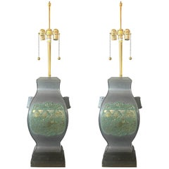 Pair of Marbro Asian Brass and Pewter Lamps, circa 1950