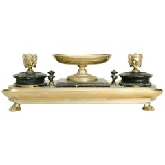Antique Neoclassical Bronze Inkwell Desk Set