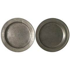 Swedish Large 18th-19th Century Pewter Dishes or Chargers Totally Three Pieces