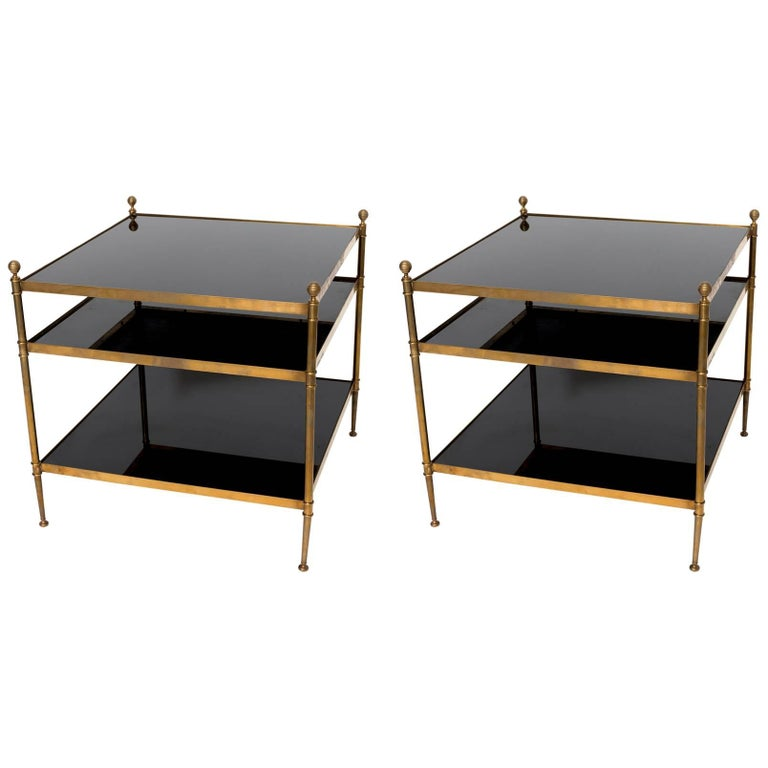 Pair Of Maison Jansen Black Smoked Glass End Tables At 1stdibs