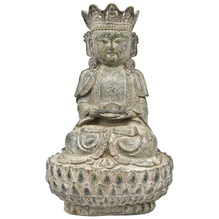 Bronze Earth Buddha on Lotus Seat For Sale